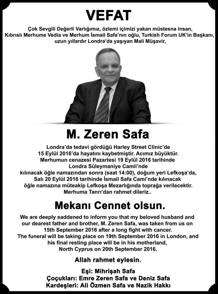 Zeren Safa vefat ilanı