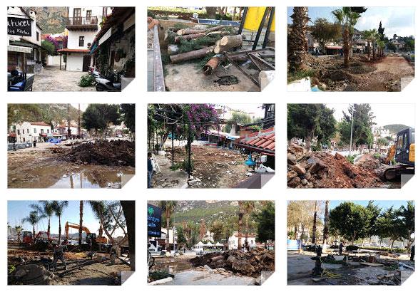 AKP'li Kaş Belediyesi'nin kentsel sit alanında yürüttüğü vahşi meydan düzenlemesine turizmcilerden ve sivil toplum örgütlerinden tepki geldi.