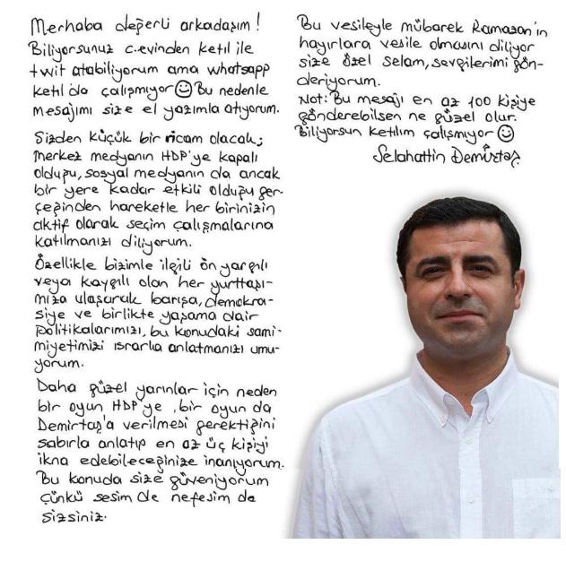 Demirtaş el yazısı mektubu sosyal medyanın gözdesi oldu